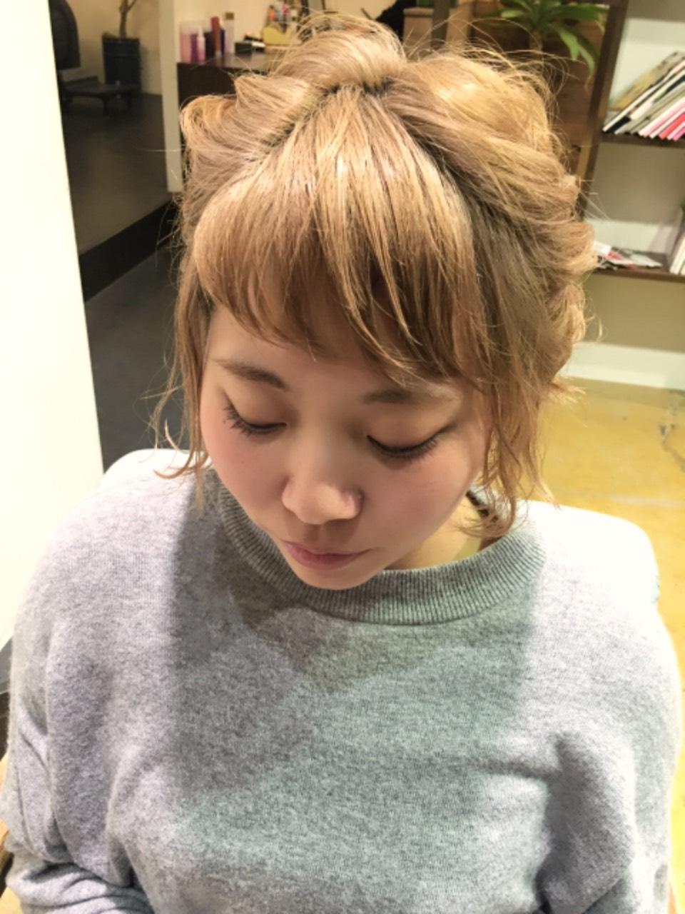 三つ編みアレンジ前髪