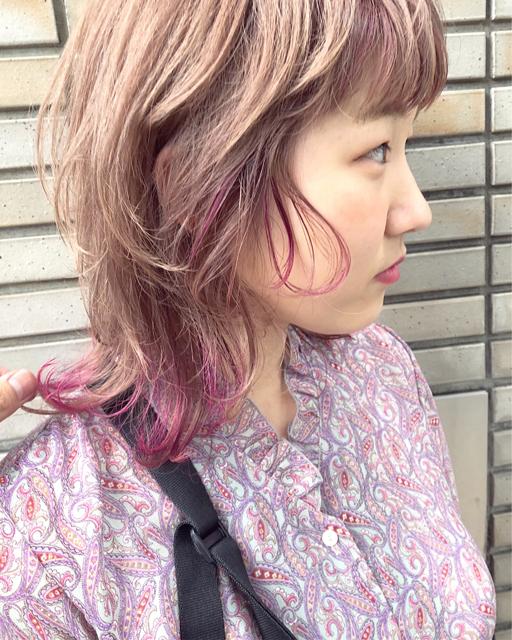 ヘアカラー(ピンク系)